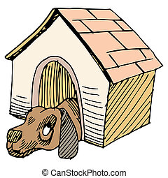 Dog Alone in Doghouse - An image of a dog alone in a...