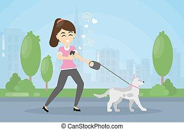 dog., ambulante, mujer