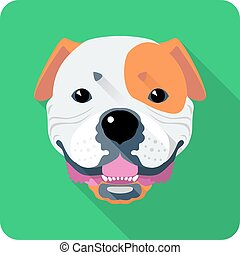dog American Bulldog flat design - Vector smiling dog...