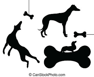 Dog and a bone - The dog chases a bone. A vector...