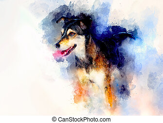 Dog and abstract background, Beautiful color spots structure.