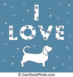 Dog and and the inscription I Love with traces. - Phrase: I...