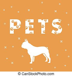 Dog and and the inscription Pets with traces. - Inscription:...