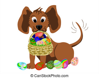 dog and basket of easter eggs