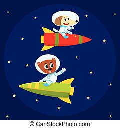 Dog and bear astronauts, spacemen riding rockets in open space