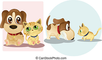 Dog and cat - Vector illustrations of a dog and a cat, being...