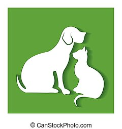 Dog and cat flat silhouettes logo