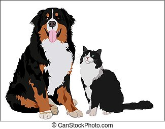 Dog and cat friends. Animals standing together. Vector illustration.