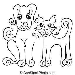 Dog and cat - Friendship of cat and dog on illustration
