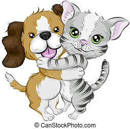 Dog and Cat Hugging with Clipping Path