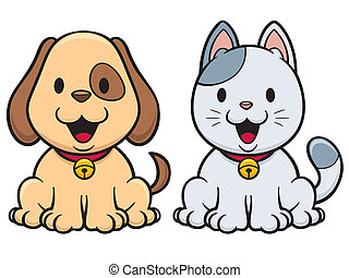 Dog and cat - Vector illustration of cartoon cat and dog