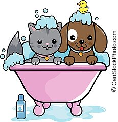 Dog and cat in a tub taking a bath. Vector illustration