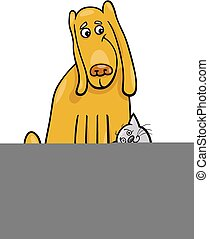 dog and cat in friendship cartoon illustration - Cartoon...