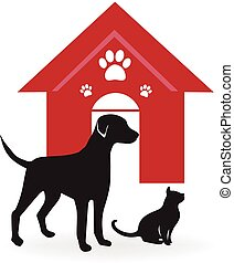 Dog and cat logo - Dog and cat with a red house and paws...