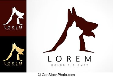 Dog and cat logo vector