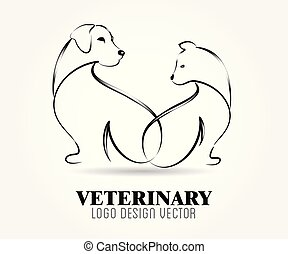 Dog and cat logo vector image design