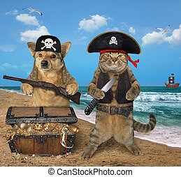 Dog and cat pirate near the treasures 2