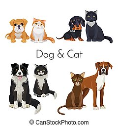 Dog and cat promotional poster with grown animal and babies....