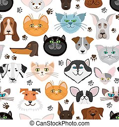 Dog and cat seamless pattern. Pets animals vector background...