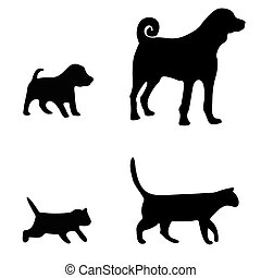 Dog and cat silhouette on white background - Black...