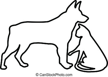 Dog and cat silhouettes logo