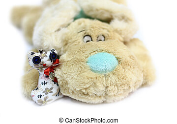 Dog and cat toy - Plush toy dog and cat isolated on white...