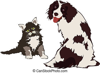 Dog and Cat, vector illustration