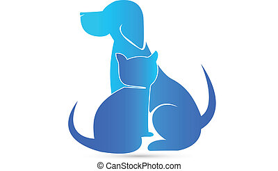 Dog and Cat silhouettes veterinary blue icon vector