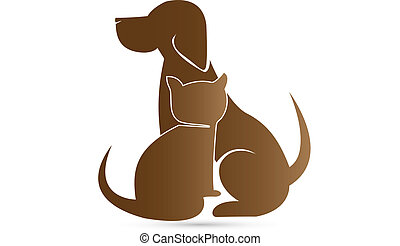 Dog and Cat silhouettes veterinary brown icon vector