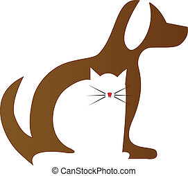 Dog and Cat silhouettes veterinary icon logo vector