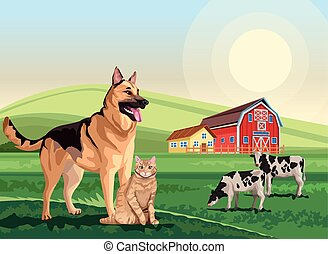 dog and cat with cows in the landscape scene