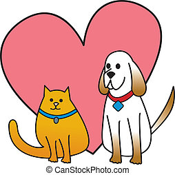 Dog and Cat With Heart - A cartoon drawing of a dog and a...