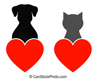 dog and cat with heart - dog and cat with red heart on white...
