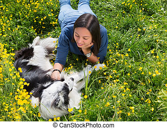 Dog and girl relaxing