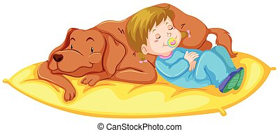 Dog and girl sleeping on mat illustration