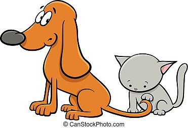 dog and kitten characters cartoon illustration