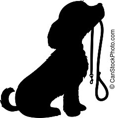 Dog and Leash - A black silhouette of a sitting dog holding...
