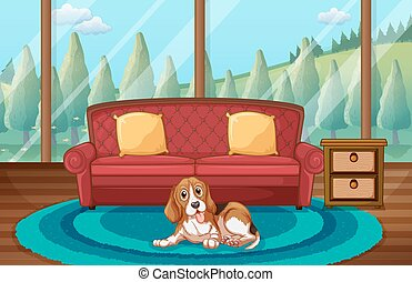 Dog and living room - Illustration of a dog sitting in a ...