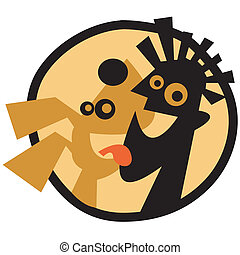 Dog And Man Vector Clip Art Graphic