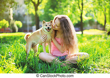 Dog and owner summer