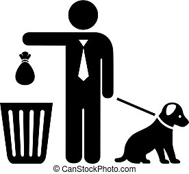 Dog and owner with trash bag vector icon isolated on white ...