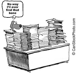 Dog and Paperwork - Business cartoon about a dog and the ...