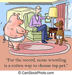 """Dog and pig wrestle disagree on how to choose winner - """"For..."""