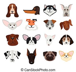 Dog and puppy heads set vector illustration - Set of muzzle...