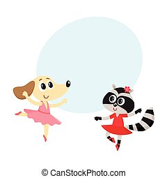 Dog and raccoon, puppy and kitten characters dancing ballet together