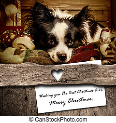 Dog and Santa Christmas greeting  card composition