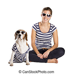 Dog and woman in studio - Dog with woman are posing in ...