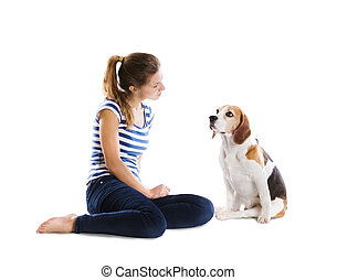 Dog and woman in studio