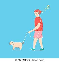 dog., andar, ilustração, vetorial, menina, caricatura