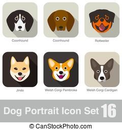 Dog, animal face character icon design set